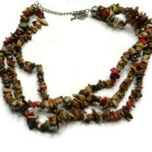 Large Statemen Unique Vintage Multi Stran Necklace